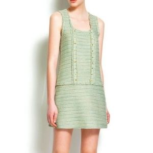 Zara Womens Mint and Gold Tweed Studded Dress SZ M